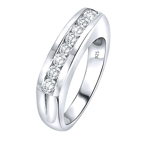 Women's Sterling Silver .925 Designer Ring Wedding Band Featuring Round Channel-Set Cubic Zirconia (CZ) Stones, Platinum Plated Jewelry (5) ()