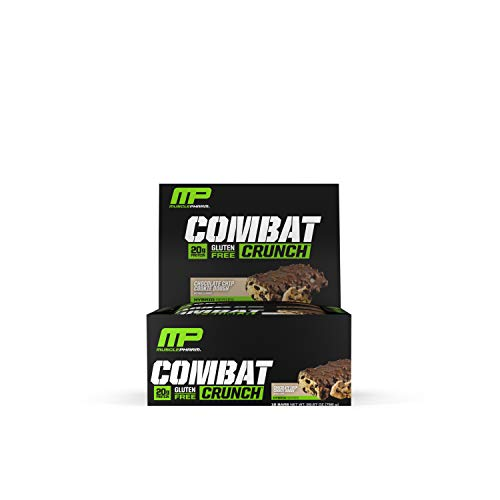 - MusclePharm Combat Crunch Protein Bar, Multi-Layered Baked Bar, Gluten-Free Bars, 20 g Protein, Low-Sugar, Low-Carb, Gluten-Free, Chocolate Chip Cookie Dough Bars, 12 Servings
