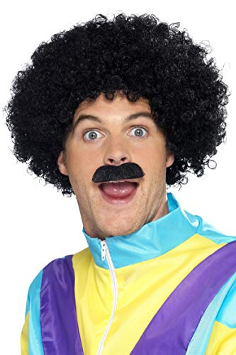 Smiffys Men's 80's Afro and Moustache Set, Black, Scouser Set, One Size, -