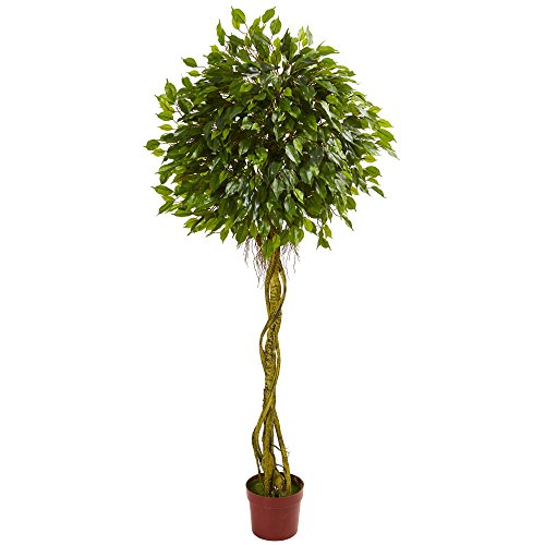 Nearly Natural 6' Ficus Artificial Topiary Tree, UV Resistant (Indoor/Outdoor) 6, Green by Nearly Natural