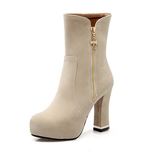 AdeeSu Ladies Chunky Heels Platform Zipper Round Toe Frosted Boots Beige