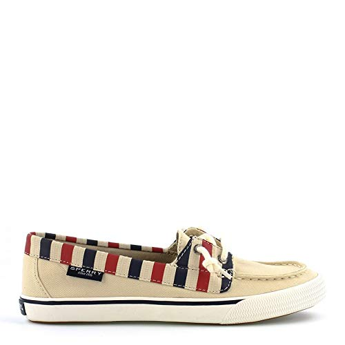 Sperry Top-Sider Lounge Away Stripe Sneaker Women 10 Natural/Red