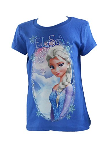 4 Girls Fitted T-shirt (Disney Frozen Elsa Selfie, Royal Blue Girls Fitted Youth T-Shirt, X-Small (4-5))