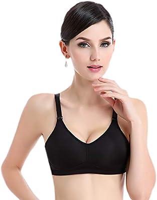 BIMEI brasier de bolsillo para mastectomía de silicona, cómodo sujetador sin alambre, copas moldeadas ligeramente acolchadas negro negro 38B