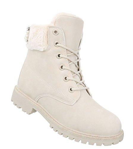 Damen Schuhe Stiefeletten Schnür Boots Beige