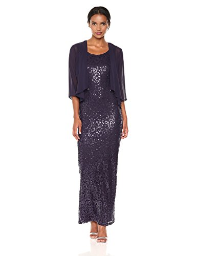 S.L. Fashions Women's Sequin Stretch Lace Long with Chiffon Jkt, Storm, 18