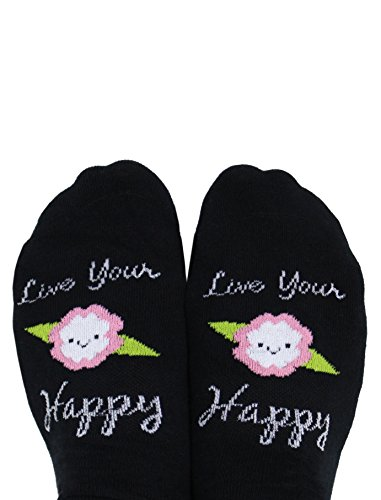Toe Talk Live Your Happy Ankle Socks, Great Gifts for Women, Ideal for Pilates Yoga Barre Tai Chi Dance Meditation & Mindful Living