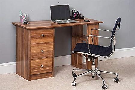 Escritorio de ordenador 3 cajones 3 estantes negro blanco madera ...