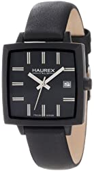 Haurex Italy Women's FK380DNN Compact W Square Black Leather Watch