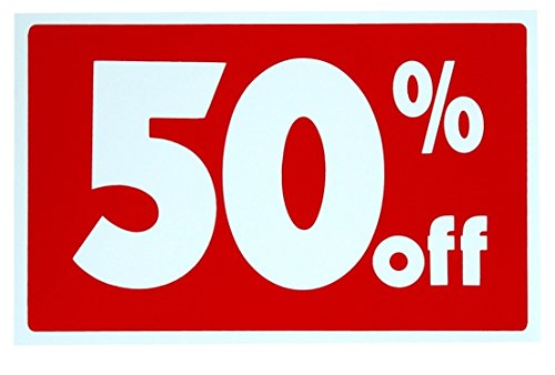1 Set Tops Popular Sale 50% Percent Off Sign Indoor Decal Promotion Retail Message Size 7
