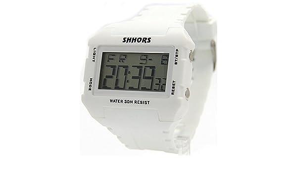 dw354 a blanco banda rectangular Cronógrafo Alarma retroiluminación niño Niña Reloj digital: Amazon.es: Relojes