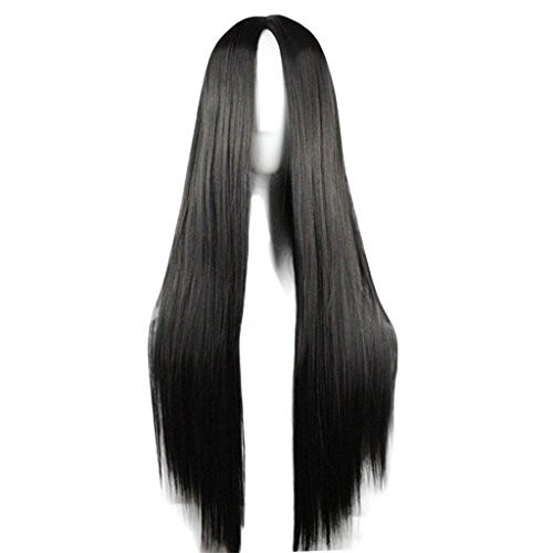 Flonding 75cm 29.5 inches Black Wig Women's Long Straight Middle Part Synthetic Hair Wigs No bangs Cosplay Anime Halloween Costume Party Hair Wig for Women with Wig Cap
