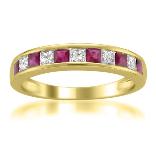 14k Yellow Gold Princess-cut Diamond and Red Ruby Wedding Band Ring (5/8 cttw, H-I, I1-I2), Size - Ruby Bands Gold White Wedding