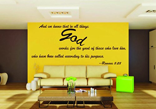 Picniva Romans 8-28 removable Vinyl Wall Decal Home Dicor God Scripture Bible Word