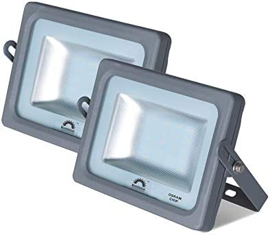 Pack de 2 Focos LED Exterior MERCURY Gris · Proyector LED Extraplano 15W con Chip Interior OSRAM · Focos LED con 1650 Lm 4000K Blanco Neutro · 115mm x ...