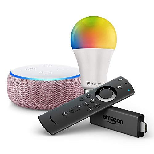 Echo Dot (Purple) bundle with Fire TV Stick and Syska 12W LED smart color bulb