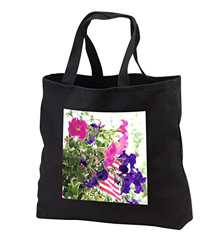 Jos Fauxtographee- Floral on Fourth of July - Some flowers with an american flag in them in accented edges - Tote Bags - Black Tote Bag JUMBO 20w x 15h x 5d (tb_291076_3)