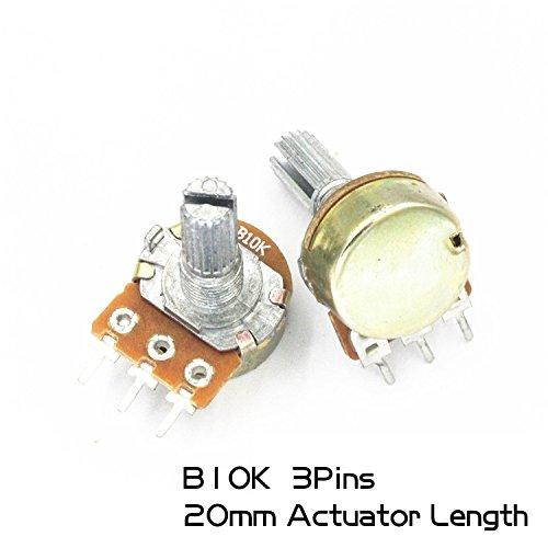 10Pcs Single couplet Rotary Potentiometer (mono) 3Pins WH148 20mm Actuator Length 10K B10K Variable Resistors Side Adjustment Rheostats Volume Control ()
