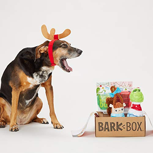 """BarkBox Classic Box-2 Large Dog Grinch Holiday Limited Edition Gift Plush Toys, Chew Toys, All-Natural Beef and Turkey Treats / 8"""" Turkey Chew Made in The USA, Plus Bonus Dog Wearable"""