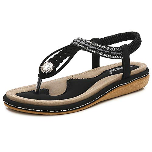 Fnnetiana Womens T-Strap Beaded Flat Sandals Bohemian Summer Beach Flip Flops Thong Shoes(8.5 B(M) US,Black)