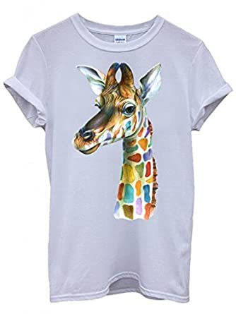 952816d0 Giraffe Head Painting Colourful Cool Funny Hipster Swag White Men Women  Unisex Top T-Shirt: Amazon.co.uk: Clothing