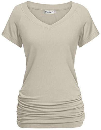 Ouncuty Tunics for Women for Leggings, Summer Females Casual Fashionable Notch Neck Solid Color Simple and Plain Slim Loose Fit Bottom Basic Tee Shirts Beige Extra Large Size 12 -