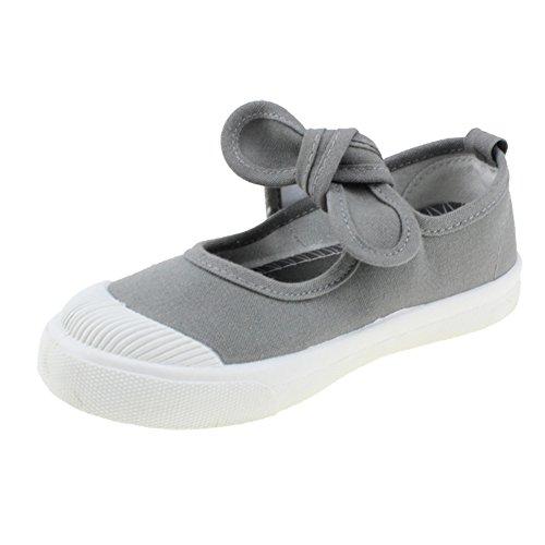 Maxu Girl's Canvas Flats Princess Bowknot Shoes,Gray,Little Kid Size 1.5