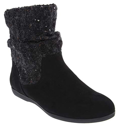 - Rampage Women's Bettey Slouch Winter Sweater Flat Low Shaft Mid Calf Boot Black 9.5