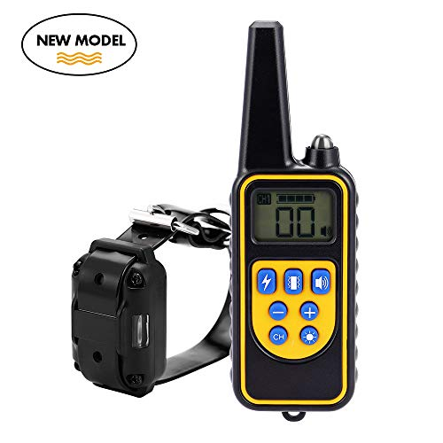 Moer Sky Dog Training Collar, Upgraded 100% Waterproof Rechargeable 875 Yards Remote Dog Shock Collar with LED Light/Beep/Vibration/Shock for Small Medium Large Dogs by Moer Sky
