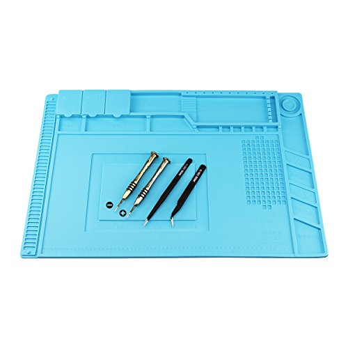 Magnetic Heat Insulation Silicone Mat Repair Kit, Including Heat Resistant Maintenance Mat, Anti-static Tweezers and Screwdrivers for Soldering Iron, Phone and Computer Repair (17.79''11.69'')