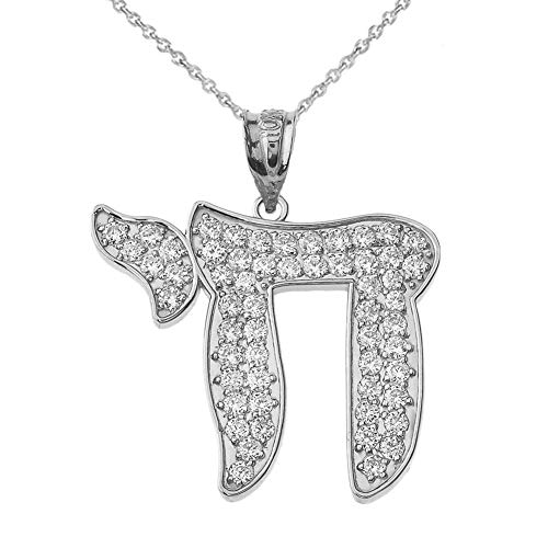 Diamond Pendant Chai (Dazzling 14k White Gold Diamond