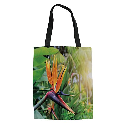 - IPrint Plant,Close up Image of Strelitzia Reginae Bird of Paradise Flower Madeira Island Portugal Decorative,Multicolor Printed Women Shoulder Linen Tote Shopping Bag