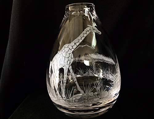Etched Floral Vase - Hand Engraved Bud vase Giraffe, Engraved Glass, Giraffe Vase, Etched Vase, Floral Vase, Custom gifts
