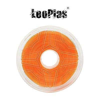 LeoPlas New Store USA Spain China Warehouse Global Shipping No Warping 1.75mm Transparent Translucent Orange ABS Filament 8 Colors 1Kg 2.2 Pounds FDM 3D Printer Pen Supplies Plastic Printing Material