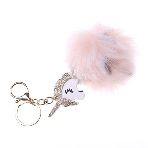 Heyuni. Cute Pink Keychain Soft Faux Fur Ball Keyring Bag Hanging Pendant (Mirror Ball Keychain)