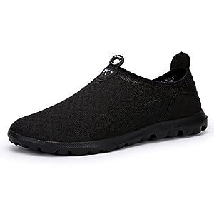 JUAN Men's New Light Weight Go Easy Mesh Walking Shoes Casual Athletic Comfortable Running Sneakers (40 M EU/7 D(M) US, Black)