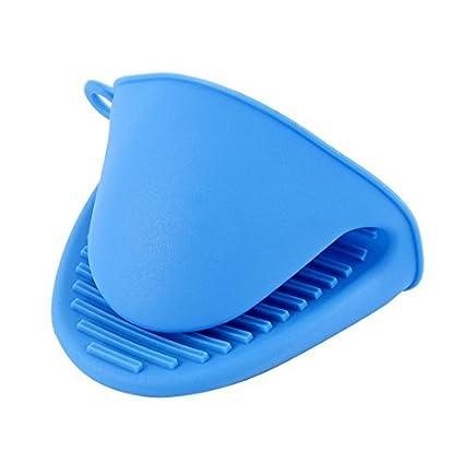 eDealMax silicona Titular de la olla de cocción Grip horno lavavajillas Mitt Pinch guante Azul del