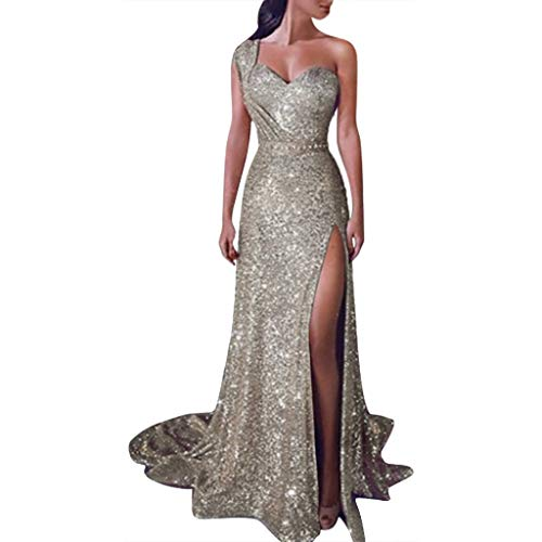 Women V Neck Sequined Prom Banquet Party Maxi Dress - Limsea Sexy Gold Solid Color Bridesmaid (X-Large, C-Champagne)