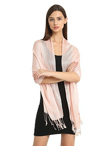 """Party Queen"" Women Wedding Evening Wrap Shawl Metallic Scarf with Fringe"