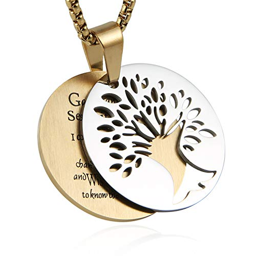HZMAN Two Piece Serenity Prayer Stainless Steel Pendant Necklace with Tree of Life Cut Out (Round - Silver & Gold)