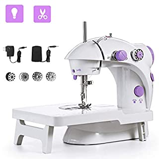 Sewing Machine, Mini Portable Double Speed Kid's Sewing Machine for Beginners with  Light Extension Table Foot Pedal 4 Coils (Lea2)