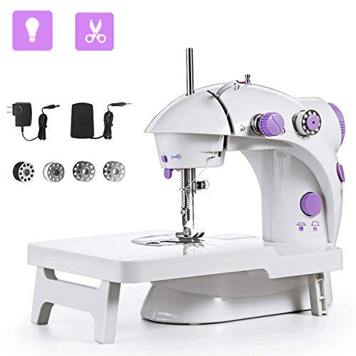 Sewing Machine, Mini Portable Double Speed Kid's Sewing Machine for Beginners with Light Extension Table Foot Pedal 4 Coils - Machine Sewing Best Beginner