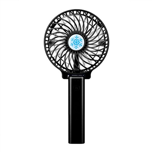 Vovomay Mini Portable Hand-held Desk Fan, Cooler Cooling USB Rechargeable Air Conditioner (Black)