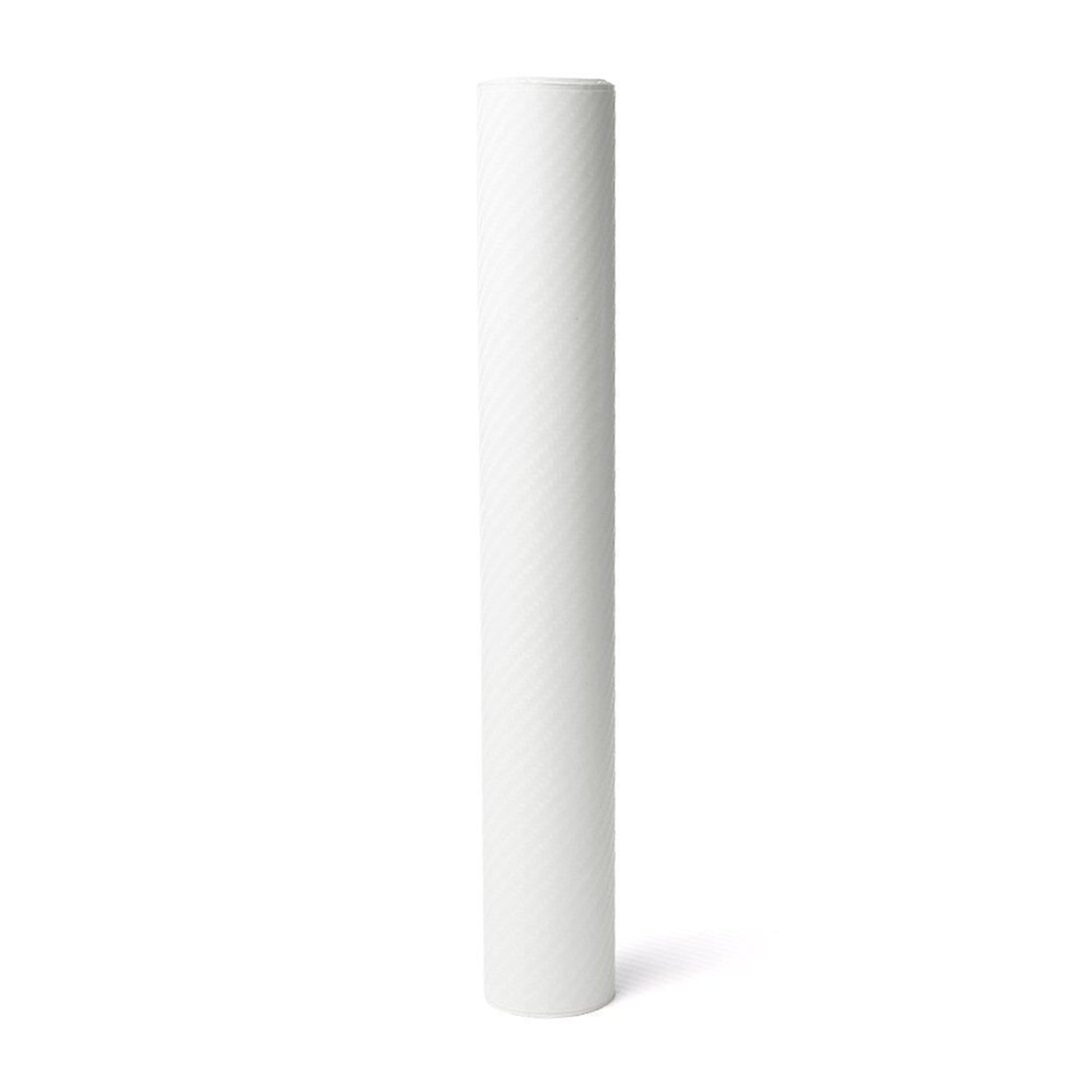 uxcell a18010800ux0204 1 Pack 4D Carbon Fiber Bubble Free Stretchable Car Vinyl Film Sticker 152 x 30cm White
