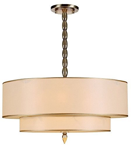 Crystorama 9507-SN Transitional Five Light Chandeliers from Luxo collection in Pwt, Nckl, B/S, Slvr.finish,