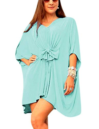 Ailunsnika Sexy Light Green Cotton Backless Bow Beachwear Tunic Dress V Neck Half Sleeve Beach Cover Up