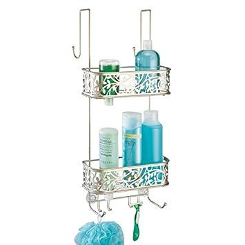 mDesign - Organizador de ducha para colgar sobre la mampara - Práctico estante para ducha de acero inoxidable - Cesta de ducha sin taladro para tus ...