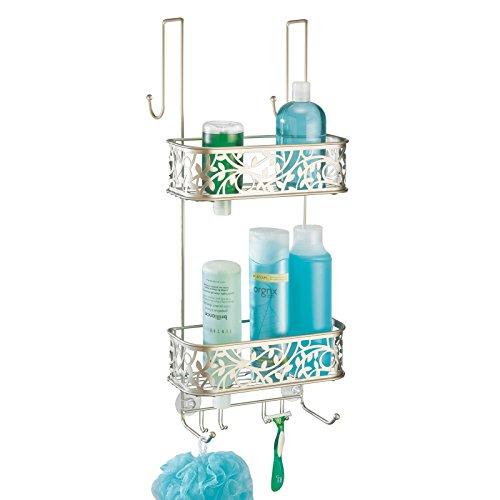 mDesign Serviteur de douche /à suspendre Installation de l/étag/ère de douche sans per/çage Panier de douche en m/étal /à accrocher pour tous les accessoires de douche 2 paniers