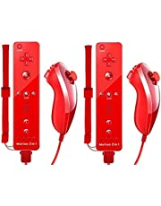 TheMax® Wii U Nintendo Red Remote Console Controller 2 x Nunchuck 2 x Remote Nunchuk Built in Motion Plus Controller For Nintendo Wii U Remote WII + FREE SILICONE COVER