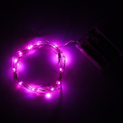 SUPERNIGHT® 7ft 20 LEDS Pink Starry Lights LED Silver LED Copper Wire Strings 3x AA Battery Operated Ultra Thin String Wire Lovely Romantic Mini LED Light
